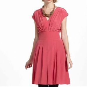 Anthro Lil Pink Silk Fit & Flare Tie-Back Dress